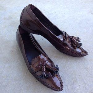 Stuart Weitzman Brown Patent Tassel Loafers